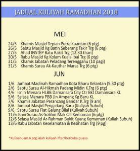 Jadual Kuliah Ustaz Azhar Idrus (UAI) JUN 2018
